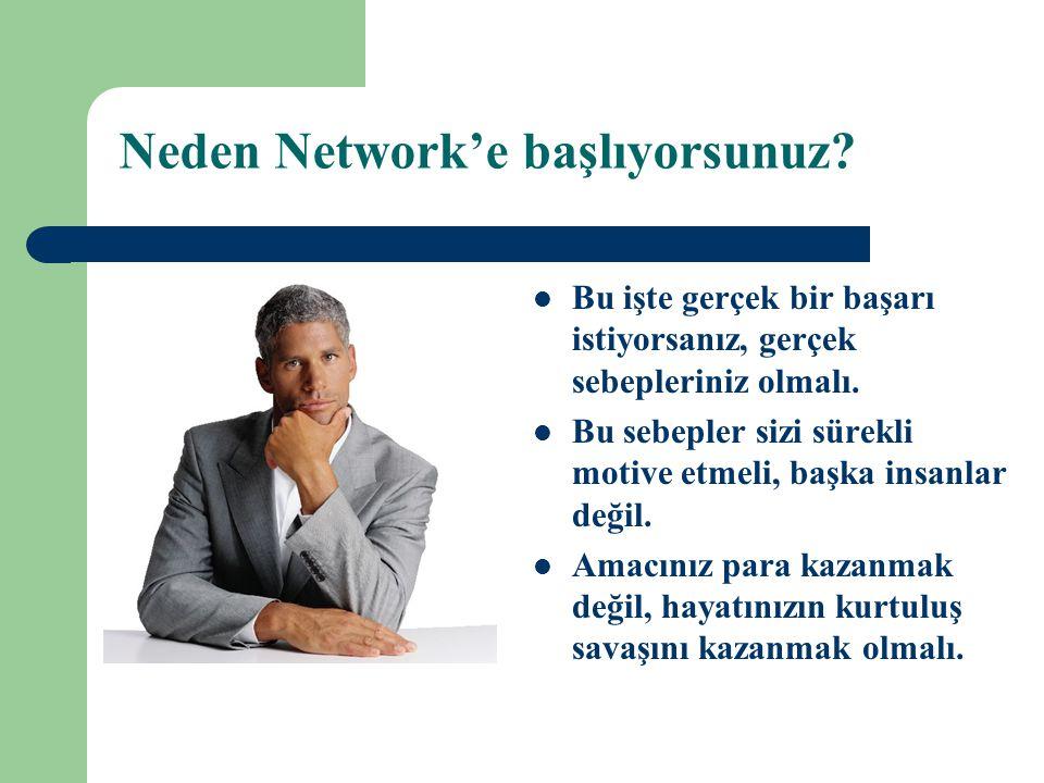 Neden Network'e başlıyorsunuz?  Bu işte gerçek bir başarı istiyorsanız, gerçek sebepleriniz olmalı.  Bu sebepler sizi sürekli motive etmeli, başka i