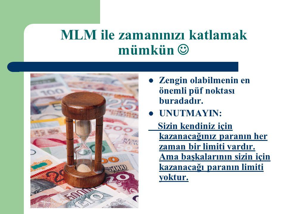 MLM ile zamanınızı katlamak mümkün   Zengin olabilmenin en önemli püf noktası buradadır.  UNUTMAYIN: Sizin kendiniz için kazanacağınız paranın her
