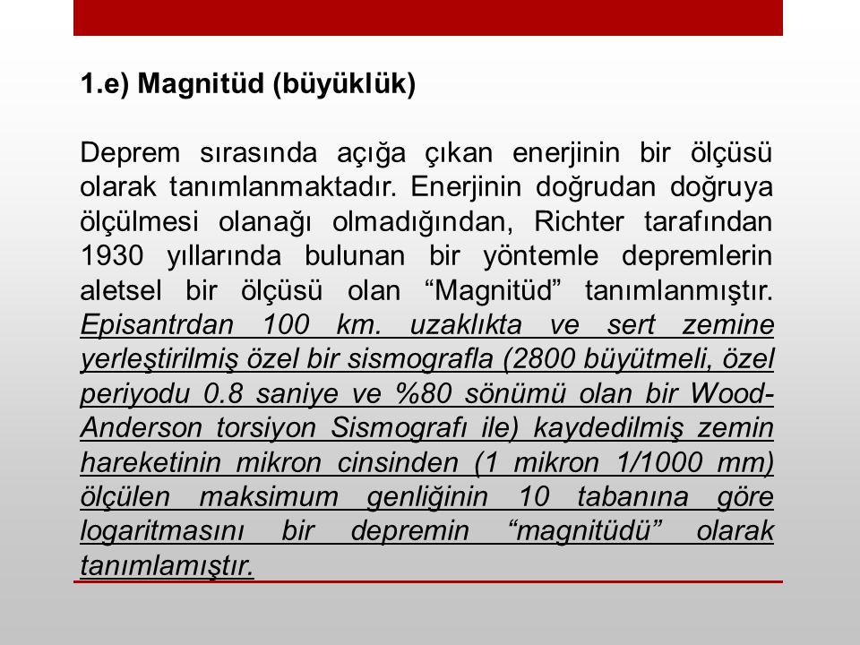 1.e) Magnitüd (büyüklük) Deprem sırasında açığa çıkan enerjinin bir ölçüsü olarak tanımlanmaktadır.