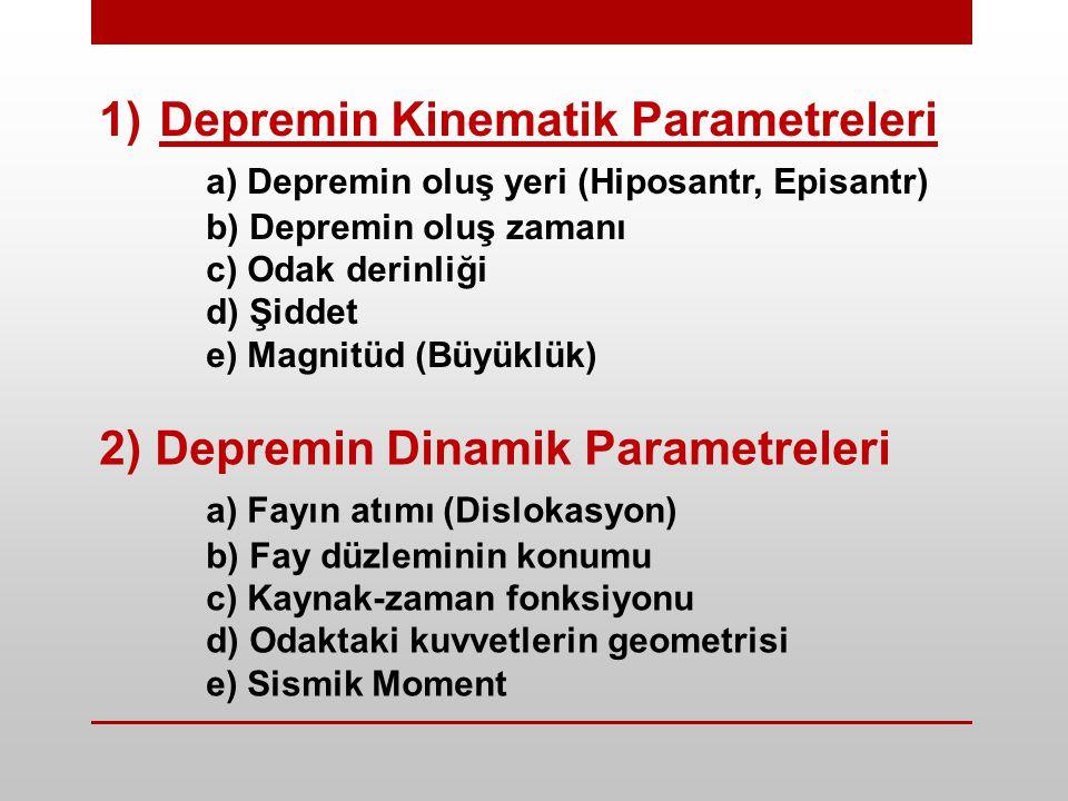 1)Depremin Kinematik Parametreleri a) Depremin oluş yeri (Hiposantr, Episantr) b) Depremin oluş zamanı c) Odak derinliği d) Şiddet e) Magnitüd (Büyüklük) 2) Depremin Dinamik Parametreleri a) Fayın atımı (Dislokasyon) b) Fay düzleminin konumu c) Kaynak-zaman fonksiyonu d) Odaktaki kuvvetlerin geometrisi e) Sismik Moment