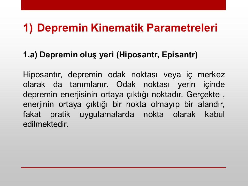 1)Depremin Kinematik Parametreleri 1.a) Depremin oluş yeri (Hiposantr, Episantr) Hiposantır, depremin odak noktası veya iç merkez olarak da tanımlanır.