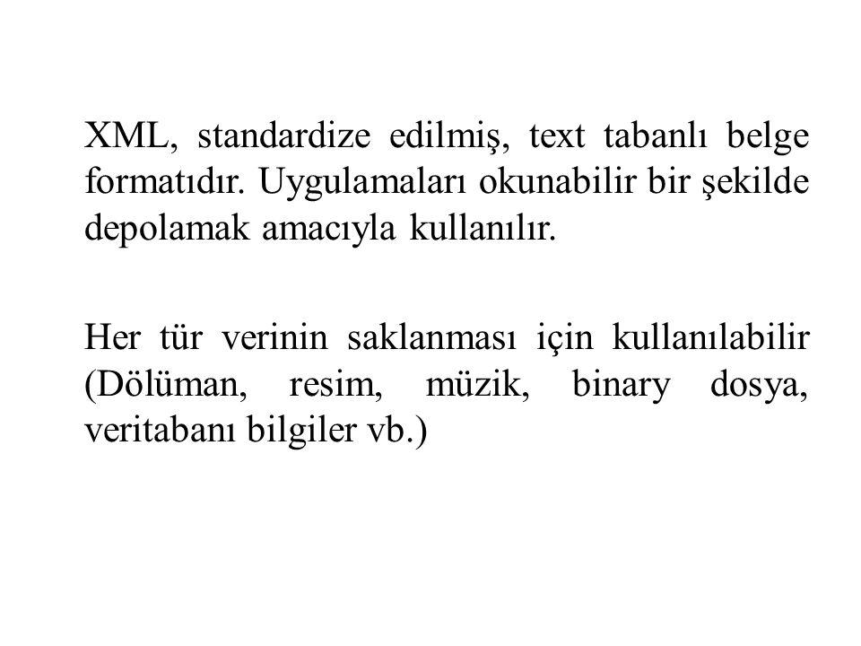 XML, standardize edilmiş, text tabanlı belge formatıdır.