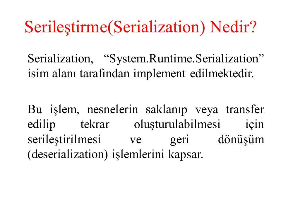 Serileştirme, bir nesnenin saklanması veya transfer edilebilmesi için doğrusal byte dizilerine dönüştürülmesidir.