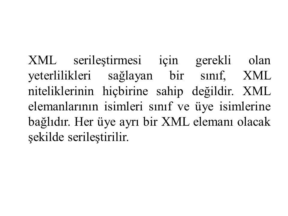 XML serileştirmesi için gerekli olan yeterlilikleri sağlayan bir sınıf, XML niteliklerinin hiçbirine sahip değildir.