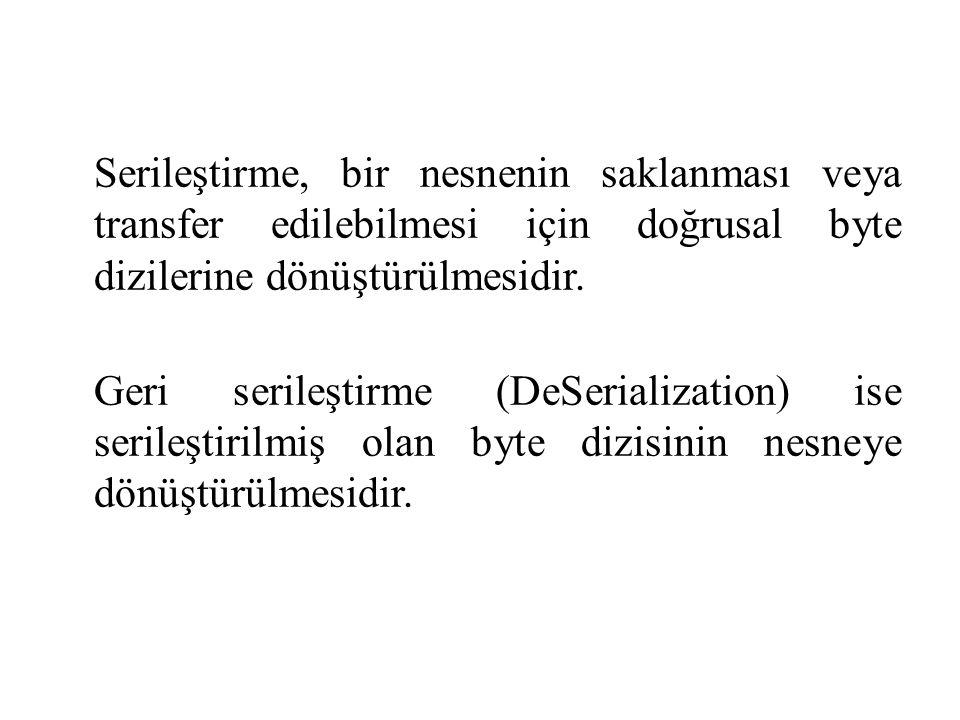 using System; using System.IO; using System.Runtime.Serialization.Formatters.Binary; namespace ConsoleApplication3 { class Program { static void Main(string[] args) { string data = Merhaba Bilgisayar Mühendisliği ; FileStream fs = new FileStream( Serialized.Data , FileMode.Create); BinaryFormatter bf = new BinaryFormatter(); bf.Serialize(fs, data); fs.Close(); }