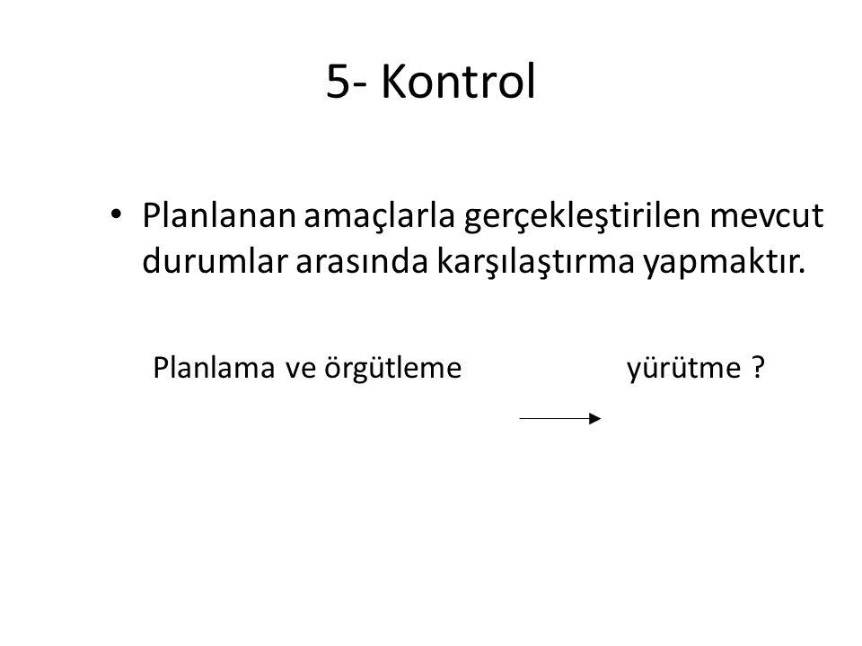 5- Kontrol • Planlanan amaçlarla gerçekleştirilen mevcut durumlar arasında karşılaştırma yapmaktır. Planlama ve örgütlemeyürütme ?