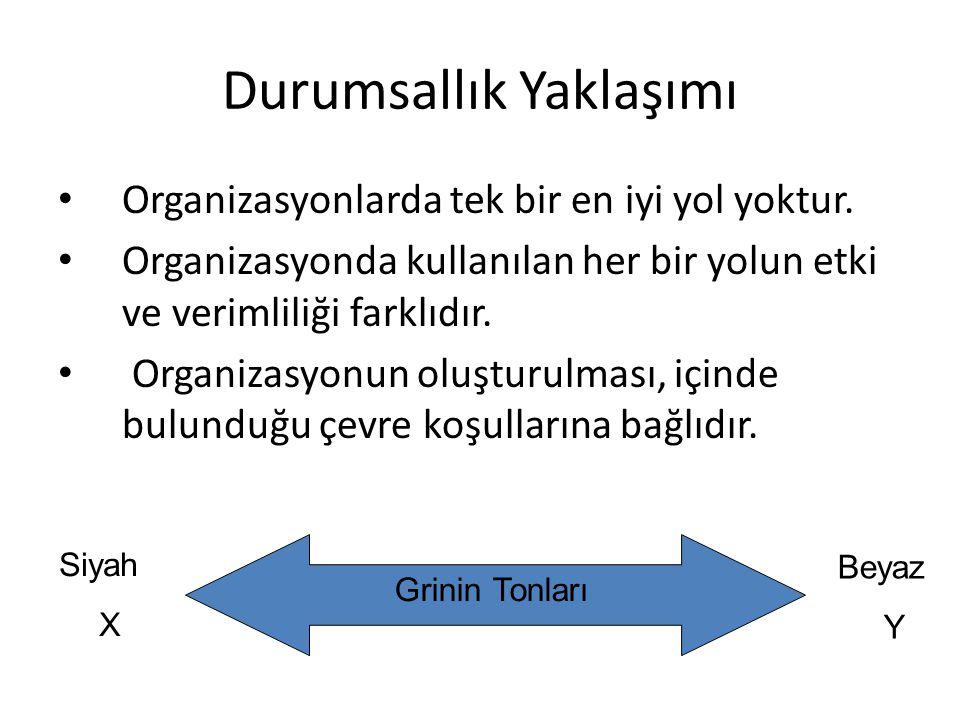 Durumsallık Yaklaşımı • Organizasyonlarda tek bir en iyi yol yoktur. • Organizasyonda kullanılan her bir yolun etki ve verimliliği farklıdır. • Organi