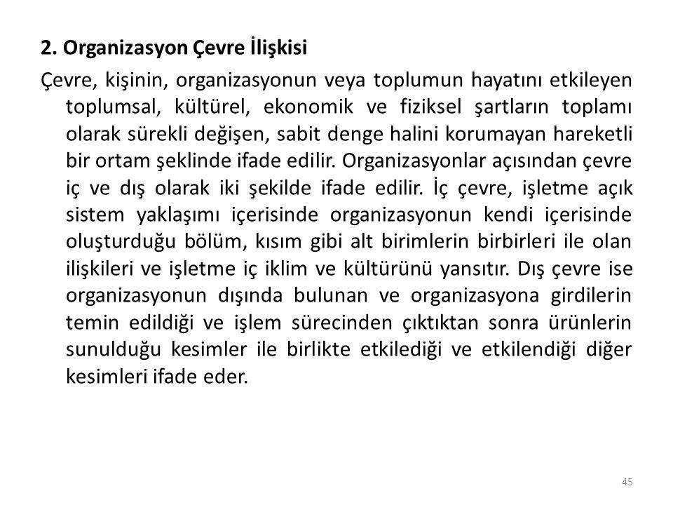 2. Organizasyon Çevre İlişkisi Çevre, kişinin, organizasyonun veya toplumun hayatını etkileyen toplumsal, kültürel, ekonomik ve fiziksel şartların top