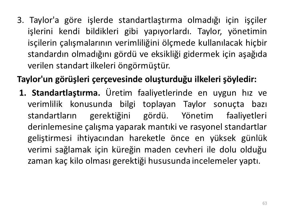 3. Taylor'a göre işlerde standartlaştırma olmadığı için işçiler işlerini kendi bildikleri gibi yapıyorlardı. Taylor, yönetimin isçilerin çalışmalarını
