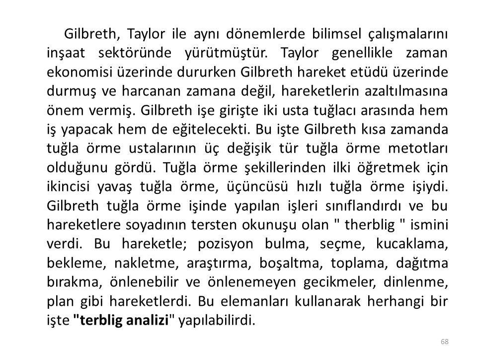Gilbreth, Taylor ile aynı dönemlerde bilimsel çalışmalarını inşaat sektöründe yürütmüştür. Taylor genellikle zaman ekonomisi üzerinde dururken Gilbret