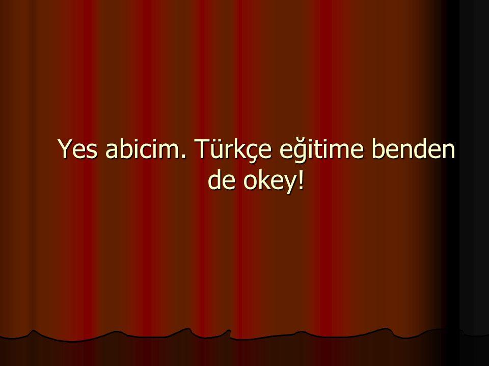 Yes abicim. Türkçe eğitime benden de okey!