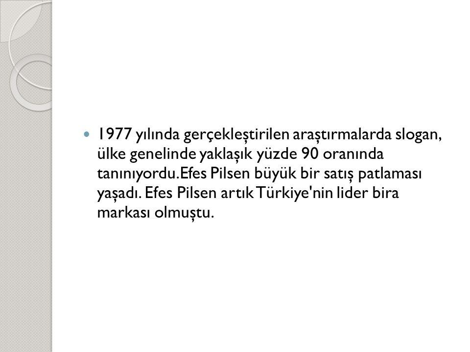  1977 yılında gerçekleştirilen araştırmalarda slogan, ülke genelinde yaklaşık yüzde 90 oranında tanınıyordu.Efes Pilsen büyük bir satış patlaması yaş
