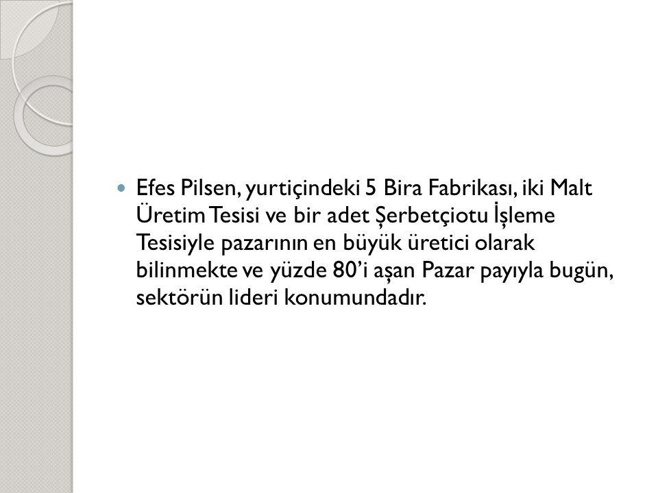  Efes Pilsen, yurtiçindeki 5 Bira Fabrikası, iki Malt Üretim Tesisi ve bir adet Şerbetçiotu İ şleme Tesisiyle pazarının en büyük üretici olarak bilin