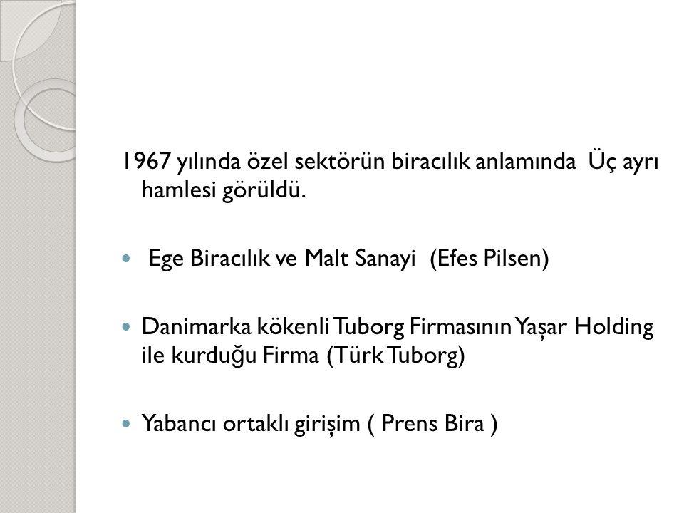 1967 yılında özel sektörün biracılık anlamında Üç ayrı hamlesi görüldü.  Ege Biracılık ve Malt Sanayi (Efes Pilsen)  Danimarka kökenli Tuborg Firmas