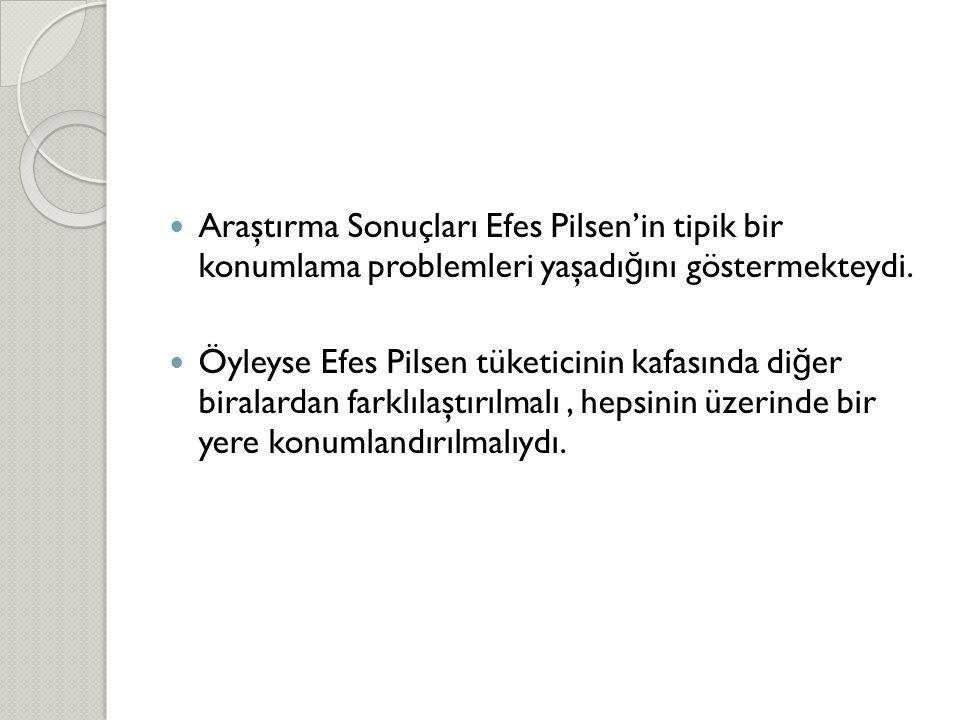  Araştırma Sonuçları Efes Pilsen'in tipik bir konumlama problemleri yaşadı ğ ını göstermekteydi.  Öyleyse Efes Pilsen tüketicinin kafasında di ğ er