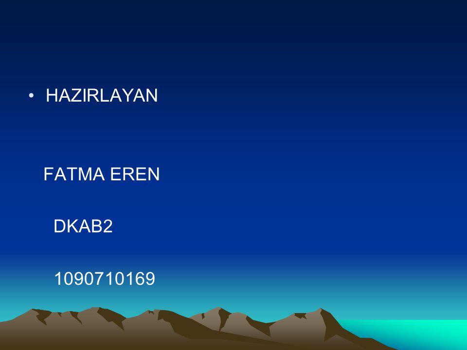 •HAZIRLAYAN FATMA EREN DKAB2 1090710169