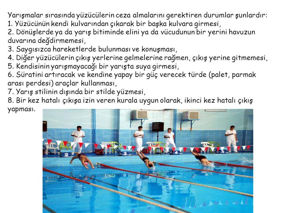 Yarışmalar sırasında yüzücülerin ceza almalarını gerektiren durumlar şunlardır: 1. Yüzücünün kendi kulvarından çıkarak bir başka kulvara girmesi, 2. D