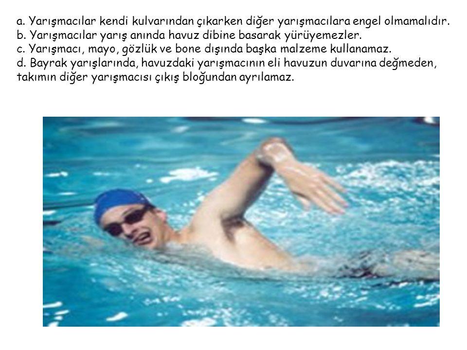 Yarışmalar sırasında yüzücülerin ceza almalarını gerektiren durumlar şunlardır: 1.