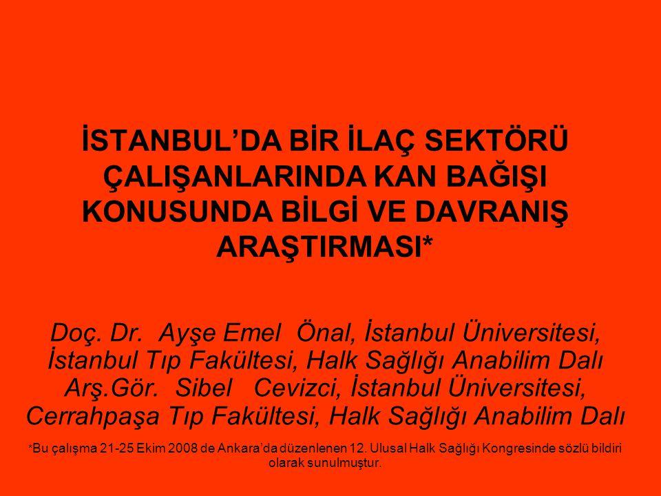 İSTANBUL'DA BİR İLAÇ SEKTÖRÜ ÇALIŞANLARINDA KAN BAĞIŞI KONUSUNDA BİLGİ VE DAVRANIŞ ARAŞTIRMASI* Doç. Dr. Ayşe Emel Önal, İstanbul Üniversitesi, İstanb