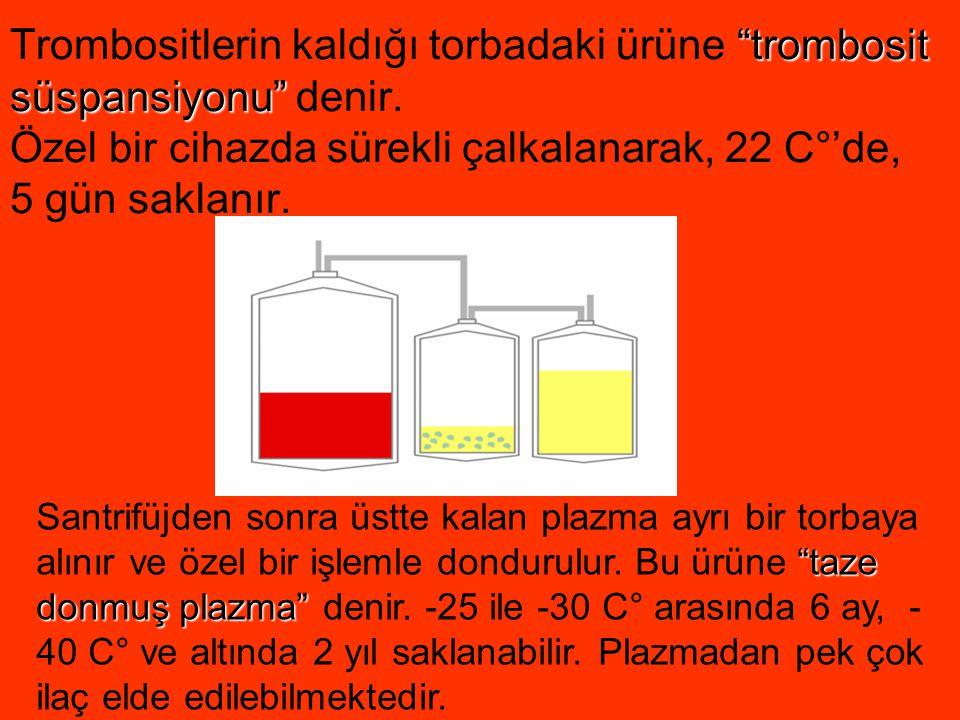 """""""trombosit süspansiyonu"""" Trombositlerin kaldığı torbadaki ürüne """"trombosit süspansiyonu"""" denir. Özel bir cihazda sürekli çalkalanarak, 22 C°'de, 5 gün"""