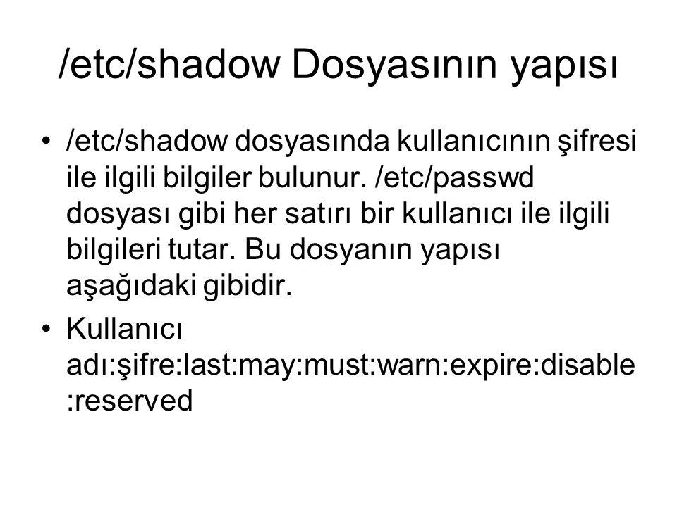 /etc/shadow Dosyasının yapısı •/etc/shadow dosyasında kullanıcının şifresi ile ilgili bilgiler bulunur.