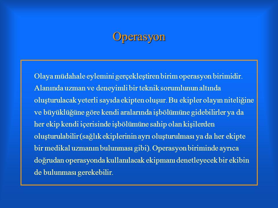 Operasyon Olaya müdahale eylemini gerçekleştiren birim operasyon birimidir. Alanında uzman ve deneyimli bir teknik sorumlunun altında oluşturulacak ye