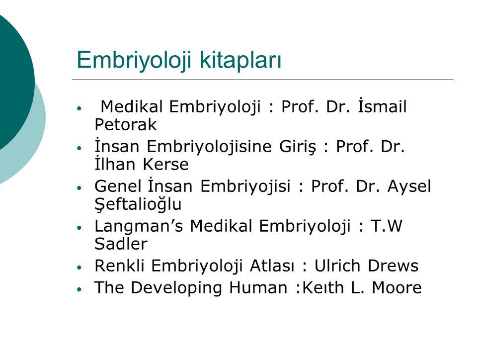 Embriyoloji kitapları • Medikal Embriyoloji : Prof. Dr. İsmail Petorak • İnsan Embriyolojisine Giriş : Prof. Dr. İlhan Kerse • Genel İnsan Embriyojisi