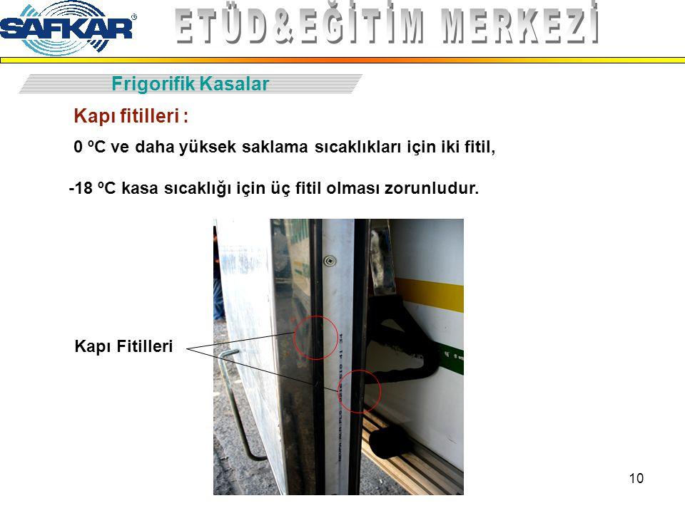10 Frigorifik Kasalar Kapı Fitilleri Kapı fitilleri : 0 ºC ve daha yüksek saklama sıcaklıkları için iki fitil, -18 ºC kasa sıcaklığı için üç fitil olm