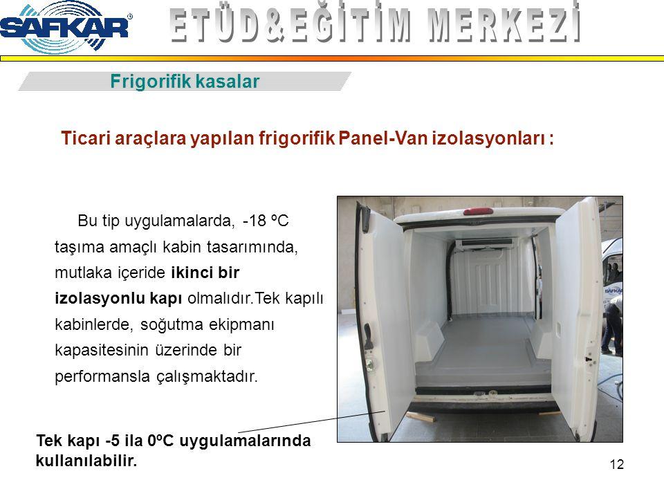 12 Frigorifik kasalar Ticari araçlara yapılan frigorifik Panel-Van izolasyonları : Bu tip uygulamalarda, -18 ºC taşıma amaçlı kabin tasarımında, mutla