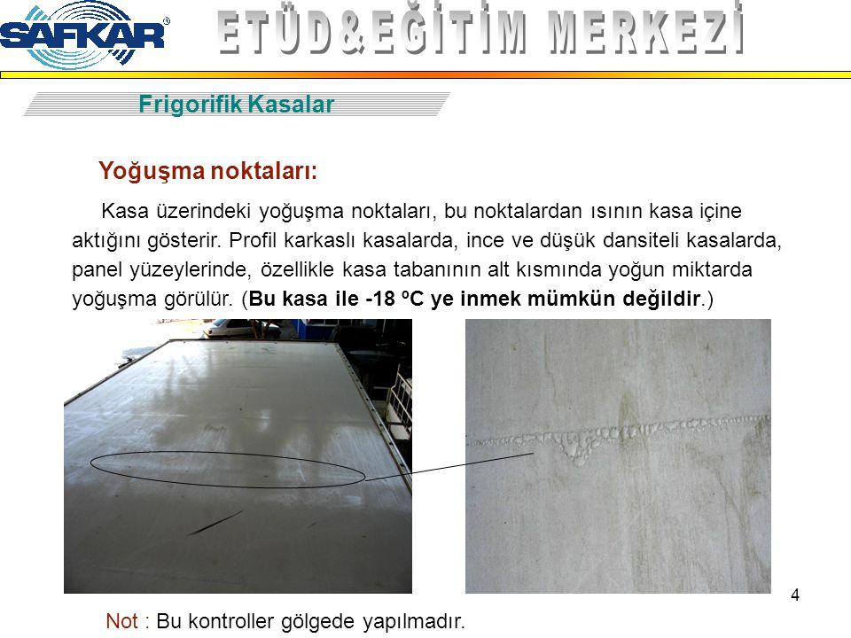 4 Frigorifik Kasalar Yoğuşma noktaları: Kasa üzerindeki yoğuşma noktaları, bu noktalardan ısının kasa içine aktığını gösterir. Profil karkaslı kasalar