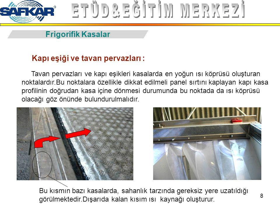 8 Frigorifik Kasalar Kapı eşiği ve tavan pervazları : Tavan pervazları ve kapı eşikleri kasalarda en yoğun ısı köprüsü oluşturan noktalardır.Bu noktal