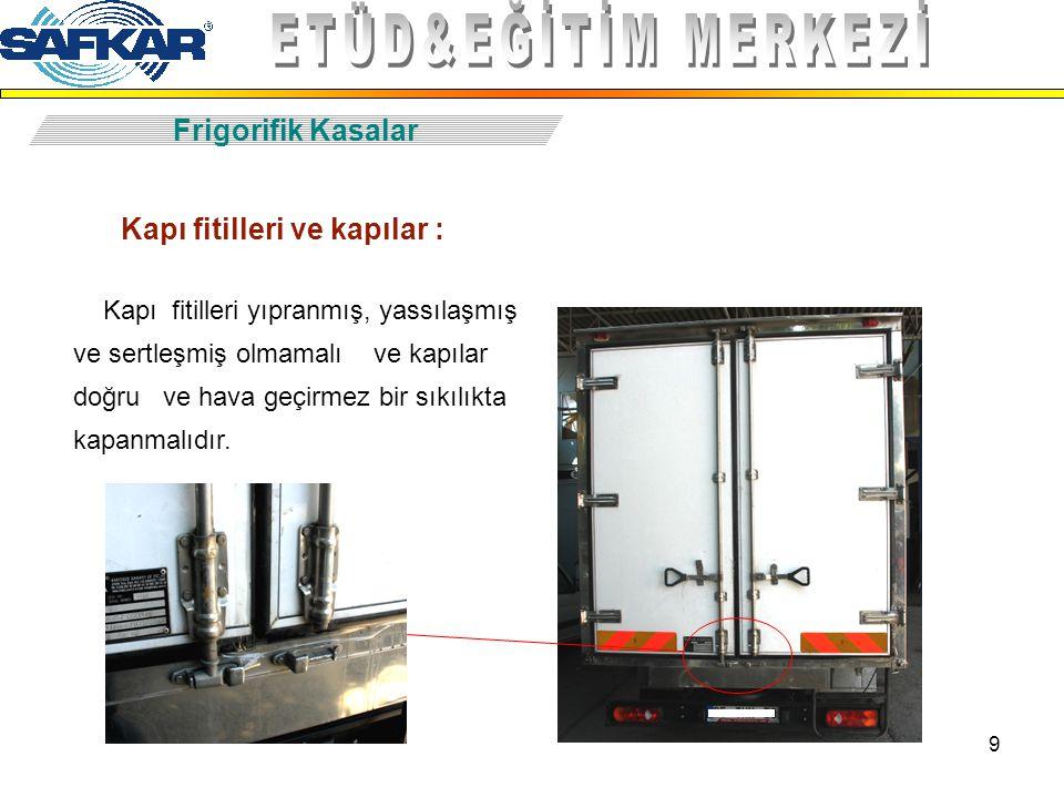 9 Frigorifik Kasalar Kapı fitilleri ve kapılar : Kapı fitilleri yıpranmış, yassılaşmış ve sertleşmiş olmamalı ve kapılar doğru ve hava geçirmez bir sı