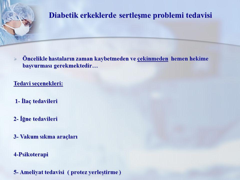Diabetik erkeklerde sertleşme problemi tedavisi  Öncelikle hastaların zaman kaybetmeden ve çekinmeden hemen hekime başvurması gerekmektedir… Tedavi s