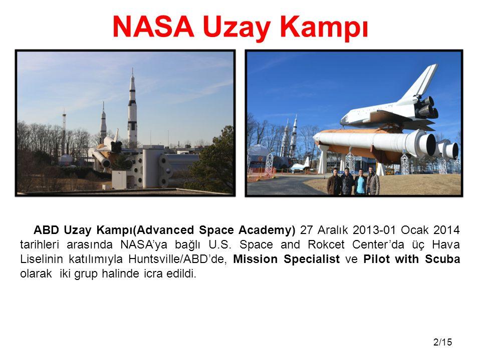 2/15 ABD Uzay Kampı(Advanced Space Academy) 27 Aralık 2013-01 Ocak 2014 tarihleri arasında NASA'ya bağlı U.S. Space and Rokcet Center'da üç Hava Lisel