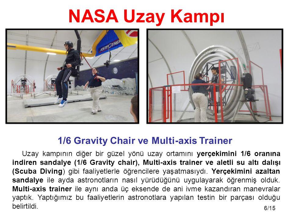 6/15 Uzay kampının diğer bir güzel yönü uzay ortamını yerçekimini 1/6 oranına indiren sandalye (1/6 Gravity chair), Multi-axis trainer ve aletli su altı dalışı (Scuba Diving) gibi faaliyetlerle öğrencilere yaşatmasıydı.
