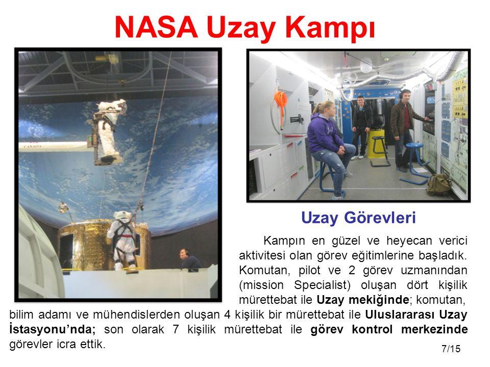 8/15 İlk günlerde uzay mekiklerinin, Uluslararası Uzay İstasyonunun(UAUİ) ve görev kontrol odasının nasıl işbirliği içinde çalıştığını öğrendik.