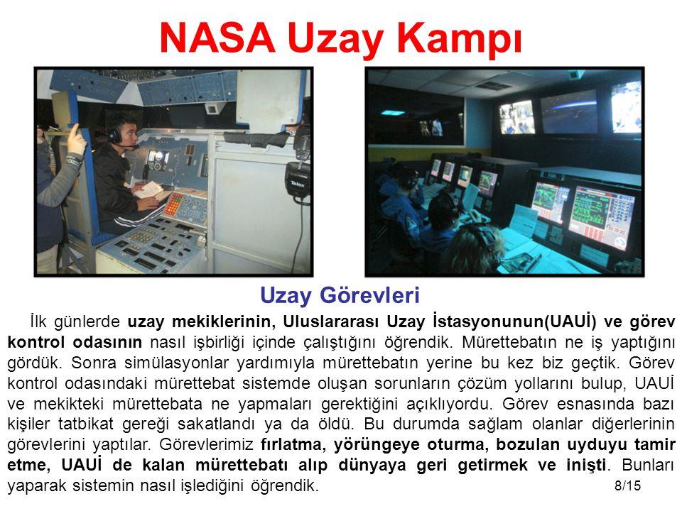 8/15 İlk günlerde uzay mekiklerinin, Uluslararası Uzay İstasyonunun(UAUİ) ve görev kontrol odasının nasıl işbirliği içinde çalıştığını öğrendik. Müret