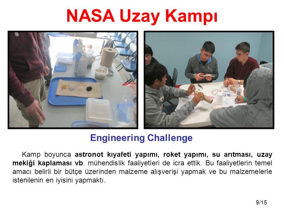 9/15 Kamp boyunca astronot kıyafeti yapımı, roket yapımı, su arıtması, uzay mekiği kaplaması vb. mühendislik faaliyetleri de icra ettik. Bu faaliyetle
