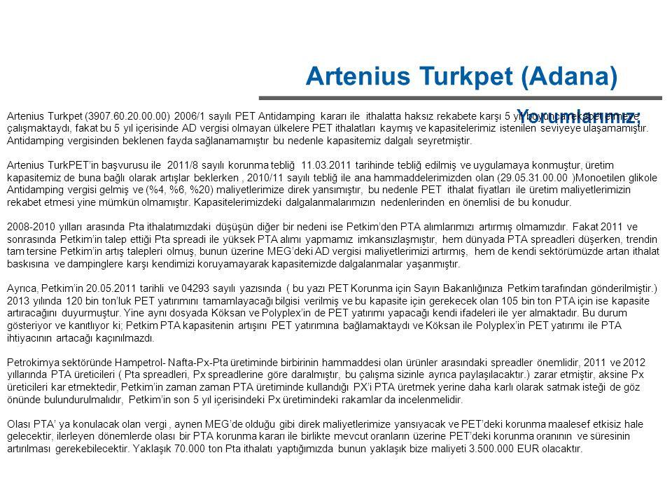 Artenius Turkpet (Adana) Yorumlarımız; Artenius Turkpet (3907.60.20.00.00) 2006/1 sayılı PET Antidamping kararı ile ithalatta haksız rekabete karşı 5