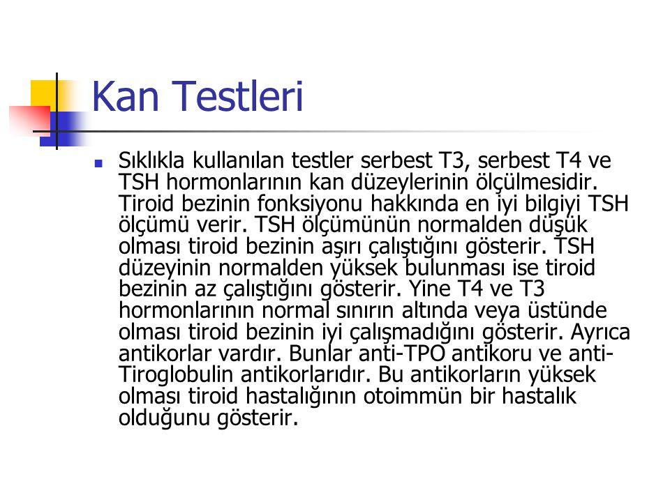 Kan Testleri  Sıklıkla kullanılan testler serbest T3, serbest T4 ve TSH hormonlarının kan düzeylerinin ölçülmesidir. Tiroid bezinin fonksiyonu hakkın