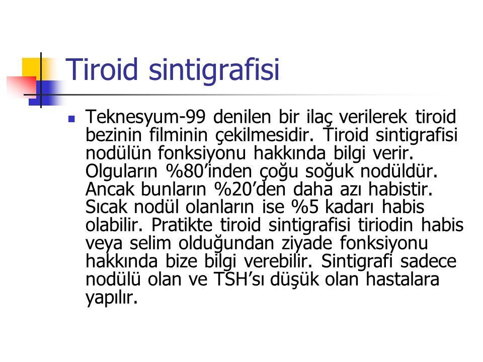 Tiroid sintigrafisi  Teknesyum-99 denilen bir ilaç verilerek tiroid bezinin filminin çekilmesidir. Tiroid sintigrafisi nodülün fonksiyonu hakkında bi