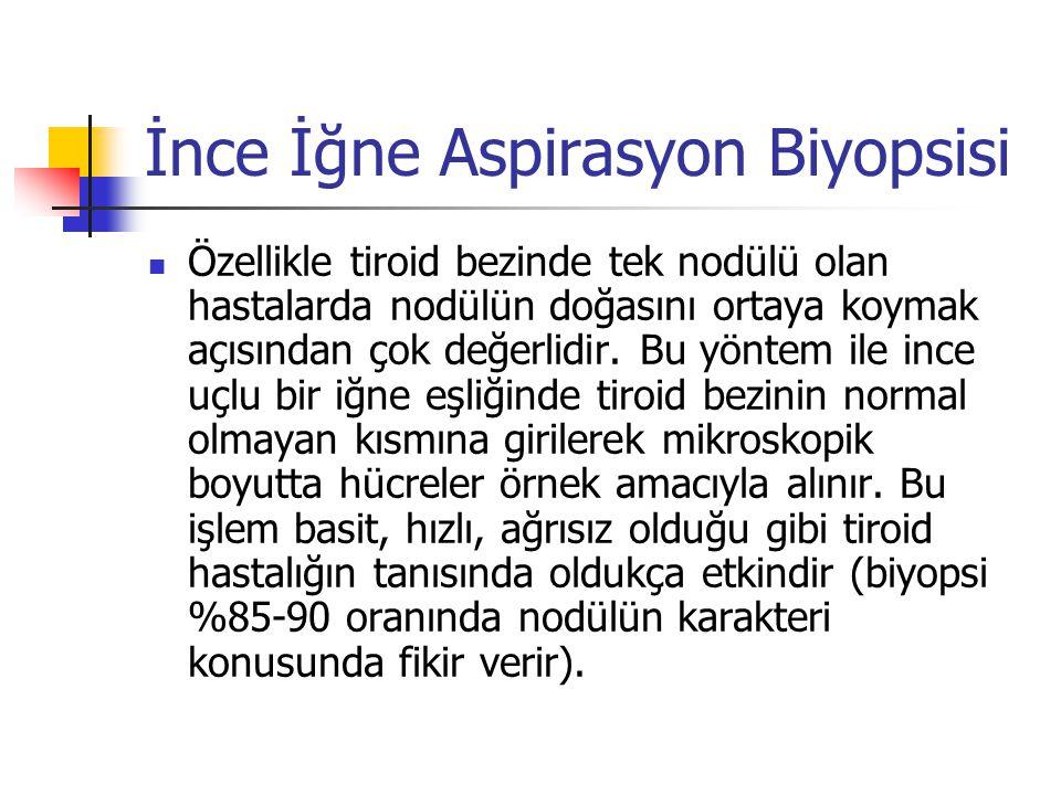 İnce İğne Aspirasyon Biyopsisi  Özellikle tiroid bezinde tek nodülü olan hastalarda nodülün doğasını ortaya koymak açısından çok değerlidir. Bu yönte