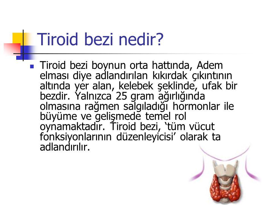 Tiroid bezi nedir?  Tiroid bezi boynun orta hattında, Adem elması diye adlandırılan kıkırdak çıkıntının altında yer alan, kelebek şeklinde, ufak bir