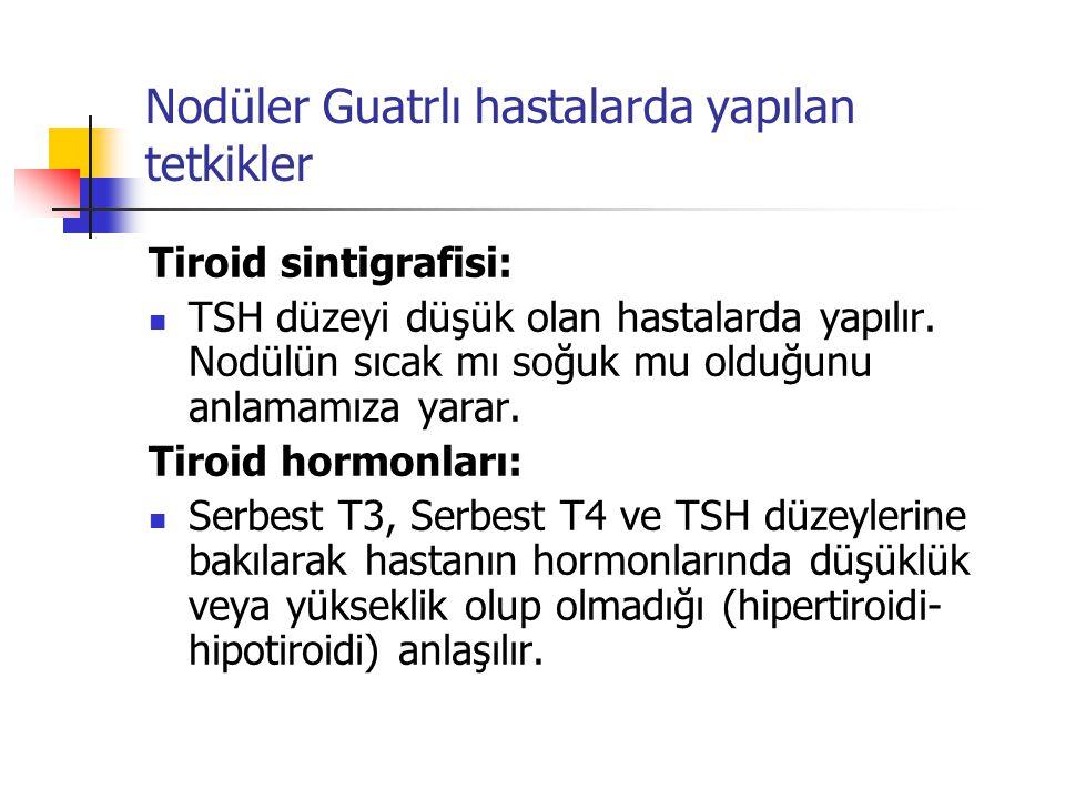 Nodüler Guatrlı hastalarda yapılan tetkikler Tiroid sintigrafisi:  TSH düzeyi düşük olan hastalarda yapılır. Nodülün sıcak mı soğuk mu olduğunu anlam
