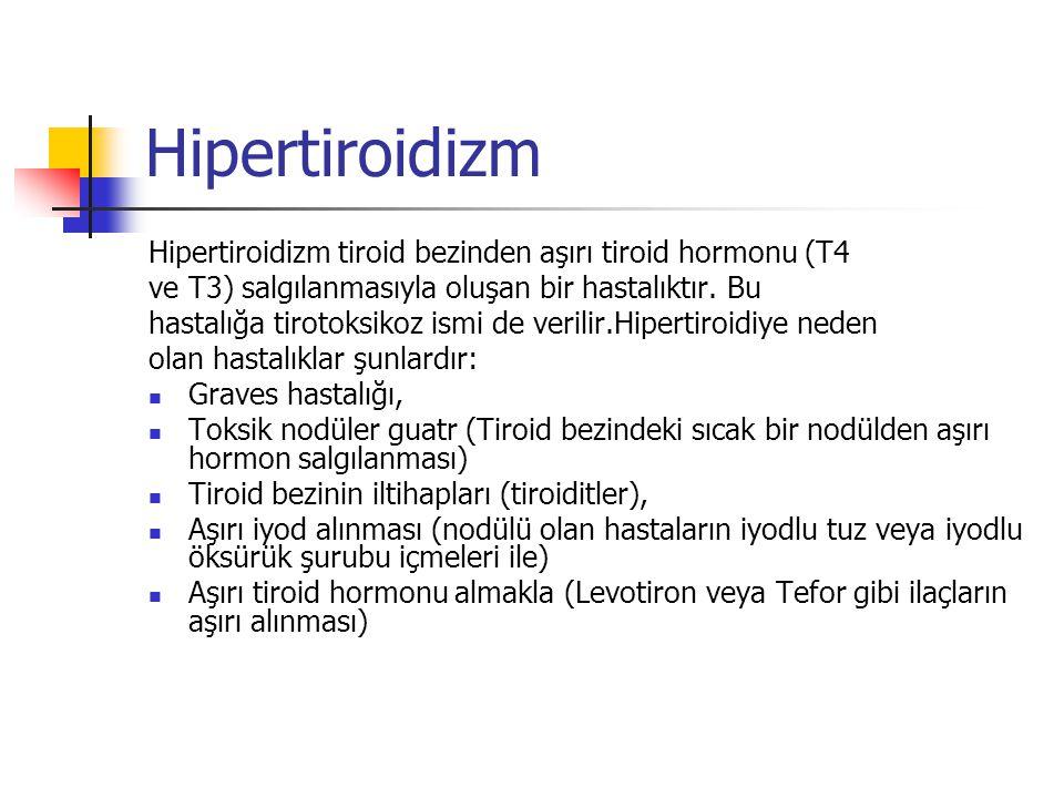 Hipertiroidizm Hipertiroidizm tiroid bezinden aşırı tiroid hormonu (T4 ve T3) salgılanmasıyla oluşan bir hastalıktır. Bu hastalığa tirotoksikoz ismi d