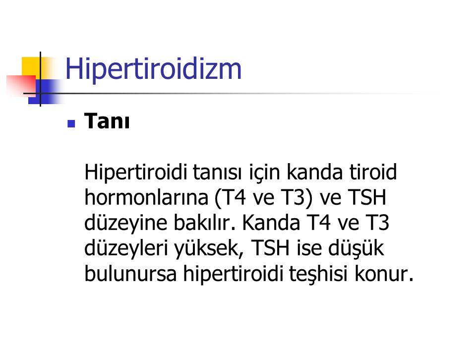 Hipertiroidizm  Tanı Hipertiroidi tanısı için kanda tiroid hormonlarına (T4 ve T3) ve TSH düzeyine bakılır. Kanda T4 ve T3 düzeyleri yüksek, TSH ise