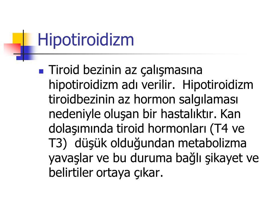 Hipotiroidizm  Tiroid bezinin az çalışmasına hipotiroidizm adı verilir. Hipotiroidizm tiroidbezinin az hormon salgılaması nedeniyle oluşan bir hastal
