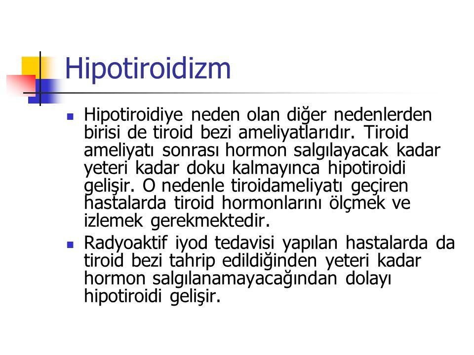 Hipotiroidizm  Hipotiroidiye neden olan diğer nedenlerden birisi de tiroid bezi ameliyatlarıdır. Tiroid ameliyatı sonrası hormon salgılayacak kadar y