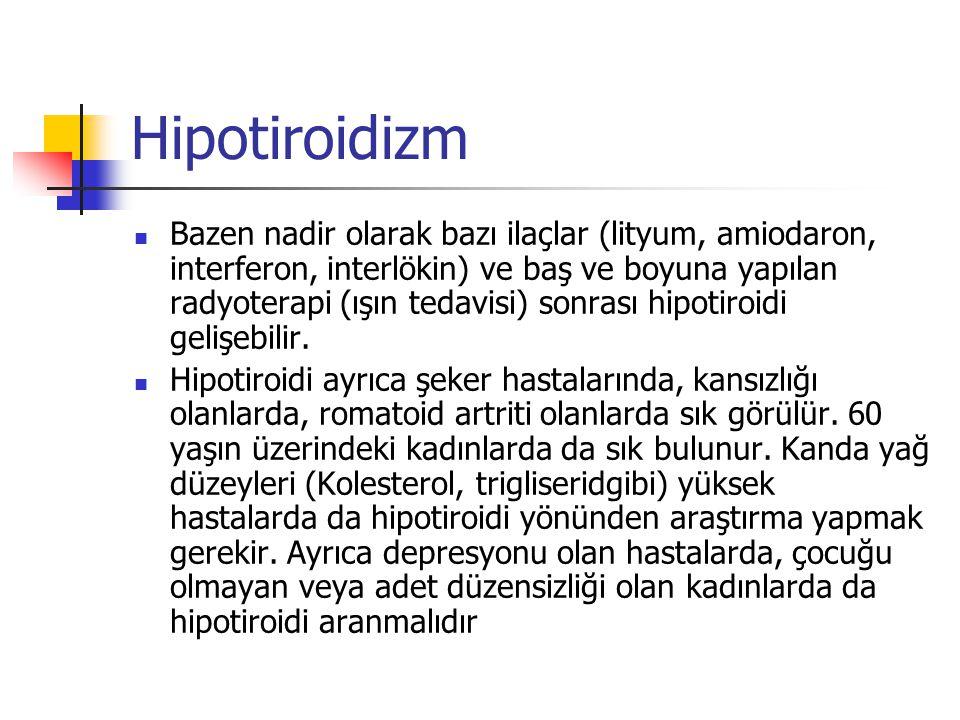 Hipotiroidizm  Bazen nadir olarak bazı ilaçlar (lityum, amiodaron, interferon, interlökin) ve baş ve boyuna yapılan radyoterapi (ışın tedavisi) sonra