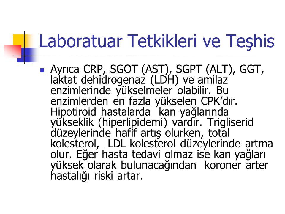 Laboratuar Tetkikleri ve Teşhis  Ayrıca CRP, SGOT (AST), SGPT (ALT), GGT, laktat dehidrogenaz (LDH) ve amilaz enzimlerinde yükselmeler olabilir. Bu e